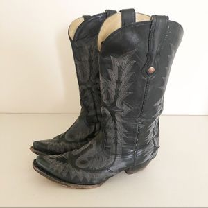 Corral Black Embroidered Stitching Cowgirl Boots